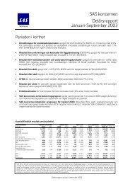 SAS koncernen Delårsrapport Januari-September 2003 - SAS Group