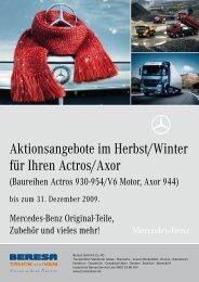 Aktionsangebote im Herbst/Winter für Ihren Actros/Axor