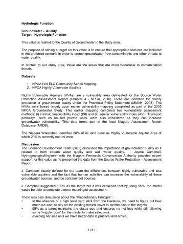 Hydrologic Function – Groundwater – Quality - Niagara Peninsula ...