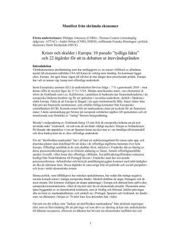 Manifest från skrämda ekonomer - Folkrörelsen Nej till EU