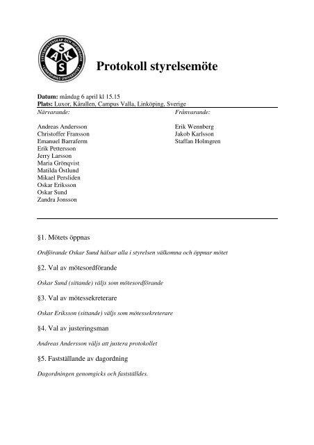 Protokoll styrelsemöte - SAKS
