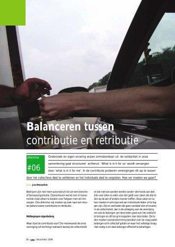 Balanceren tussen contributie en retributie - Branchewerk