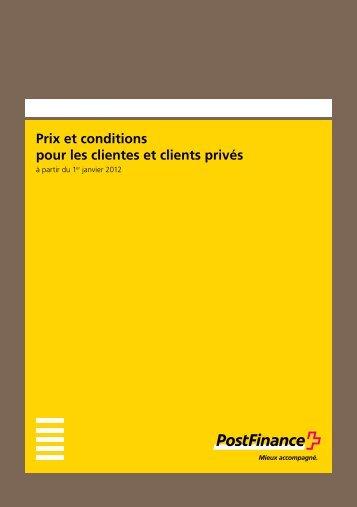 Prix et conditions pour les clientes et clients privés