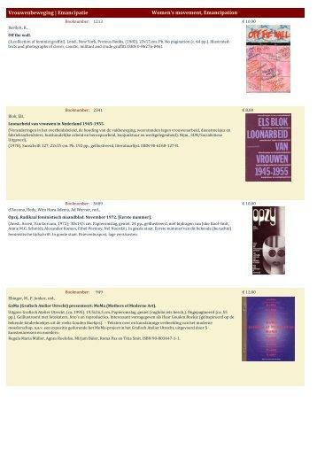 Vrouwenbeweging - Antiquariaat Clio / Cliobook