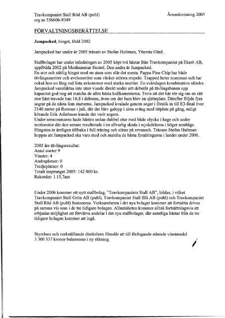Årsredovisning 2005 Stall Röd - Travkompaniet