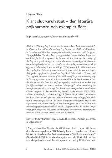 Klart slut varulvstjut – den litterära pojkhumorn och exemplet Bert