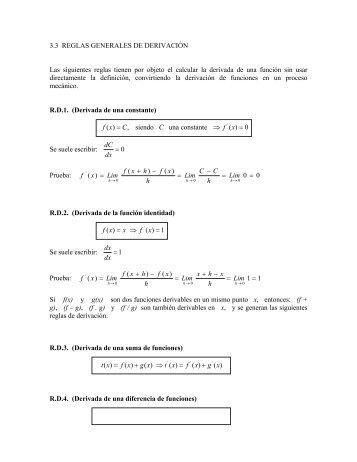 3.3 REGLAS GENERALES DE DERIVACIÓN Las siguientes reglas ...