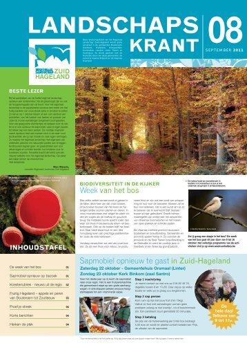 Landschapskrant september 2011 - Regionaal Landschap Zuid ...