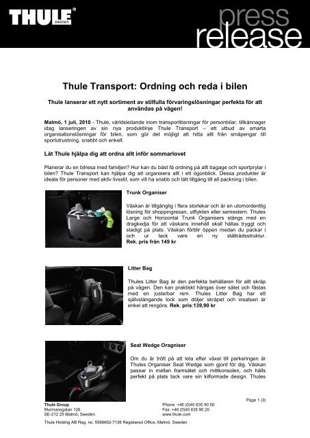 Thule Transport: Ordning och reda i bilen - Mynewsdesk