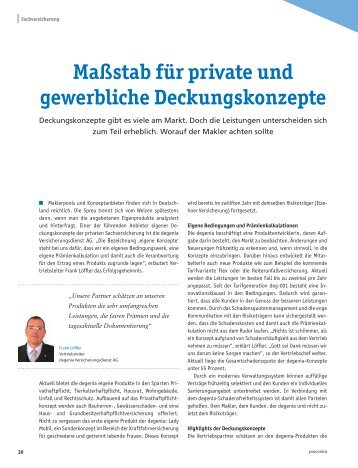Maßstab für private und gewerbliche Deckungskonzepte - Degenia