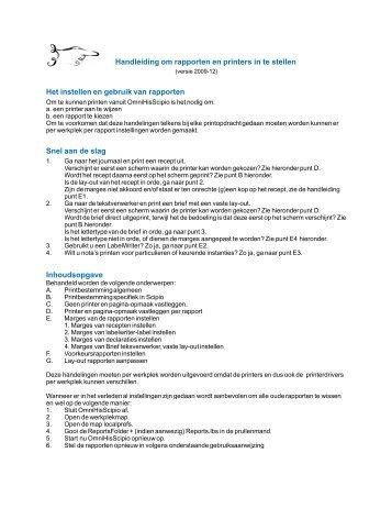 Handleiding instellen printers en rapporten - OmniHis
