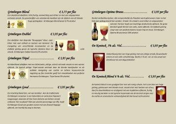 Download hier onze bierkaart en maak alvast uw