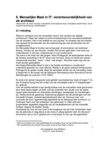 6. Menselijke Maat in IT: verantwoordelijkheid van de architect