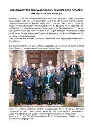 Kirchenvorstand - Evangelische Kirchengemeinde Berchtesgaden