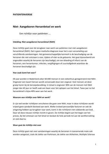 Niet- Aangeboren Hersenletsel en werk - Afasie Vereniging Nederland