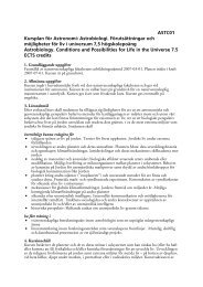 ASTC01 Kursplan för Astronomi: Astrobiologi. Förutsättningar och ...