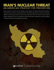 Iran's Nuclear Threat: An American Strategy for Prevention - Aipac