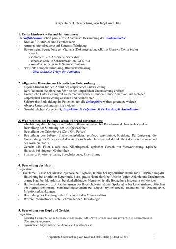 Anleitung Körperliche Untersuchung von Kopf und Hals (PDF)