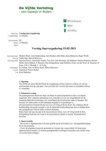 Verslag jaarvergadering 15-02-2011 - De Vijfde Verloting
