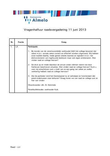 Vragenhalfuur raadsvergadering 11 juni 2013 - Gemeente Almelo