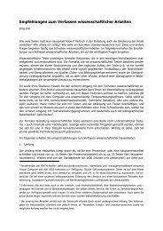 Empfehlungen zum Verfassen wissenschaftlicher Arbeiten