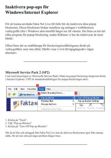 Inaktivera pop-ups för Windows/Internet Explorer - Faktanetlive.com ...