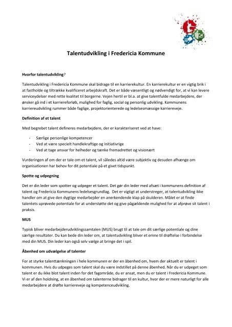 Talentudvikling i Fredericia Kommune - UddannelsesCentret ...