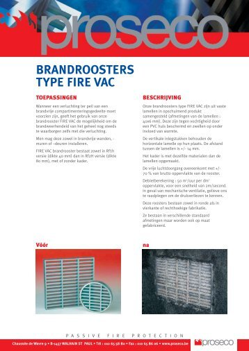 Brandroosters type FIRE VAC - Proseco