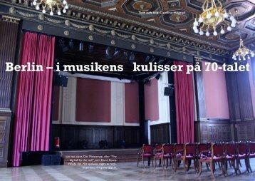 Berlin – i musikens kulisser på 70-talet