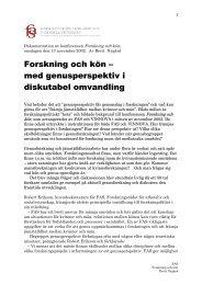 Dokumentation av konferens Forskning och kön, onsdagen ... - FAS