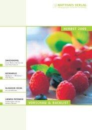 Herbst 2009 VorscHau & bacKlist - Matthaes Verlag GmbH
