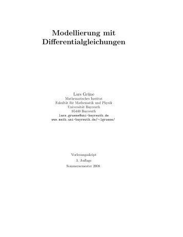 Modellierung mit Differentialgleichungen - Universität Bayreuth