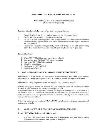 BIJSLUITER: INFORMATIE VOOR DE GEBRUIKER PROVARIVAX ...