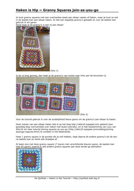 Haken Is Hip Granny Squares Join As You Go De Quiltkat