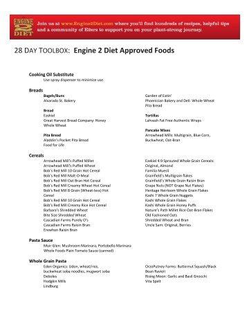 28 DAY TOOLBOX: Engine 2 Diet Approved Foods - The Engine 2 Diet