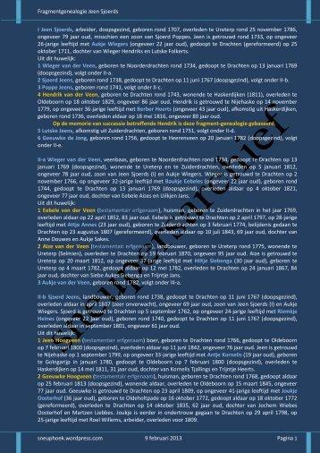 Fragmentgenealogie Jeen Sjoerds sneuphoek.wordpress.com 9 ...