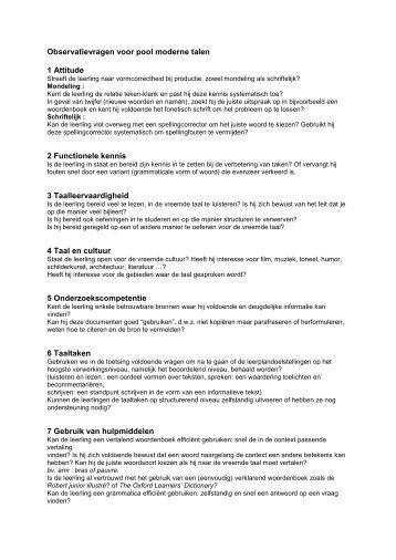 Observatievragen voor pool moderne talen 1 Attitude 2 ... - Kerknet
