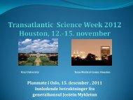 Presentasjon av Transatlantic Sience Week ... - Helseforsk.no