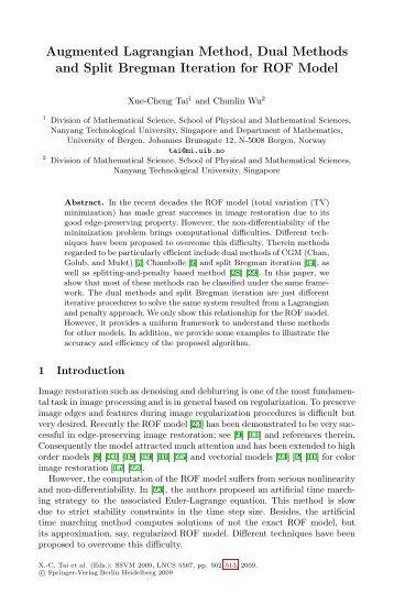 Augmented Lagrangian Method, Dual Methods and Split Bregman ...