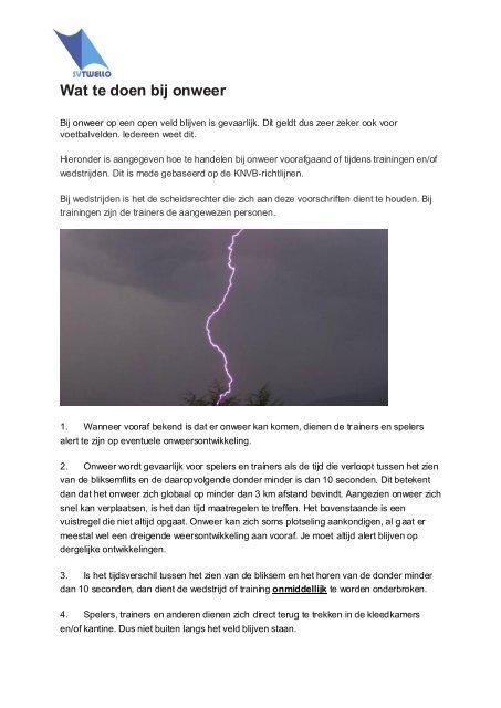 Wat te doen bij onweer - SV Twello