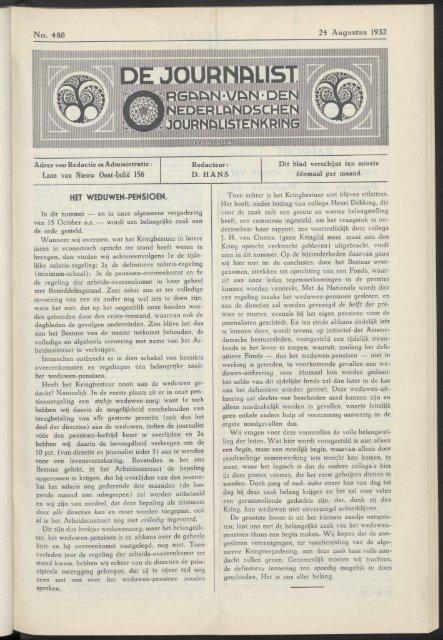 No. 480 24 Augustus 1932 laan van Nieuw Oost-Indië 156 HET ...