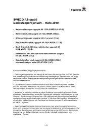 SWECO AB (publ) Delårsrapport januari – mars 2010