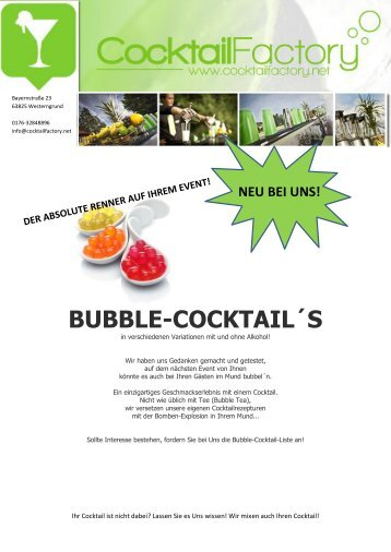 BUBBLE-COCKTAIL´S - Cocktailfactory