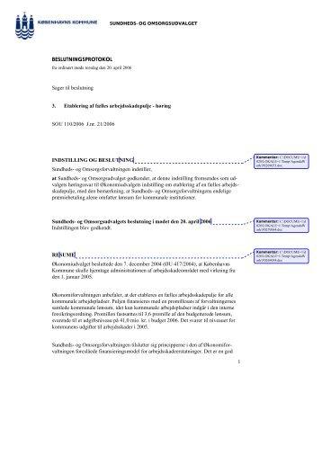 SOU - Etablering af fælles arbejdsskadepulje - Københavns Kommune