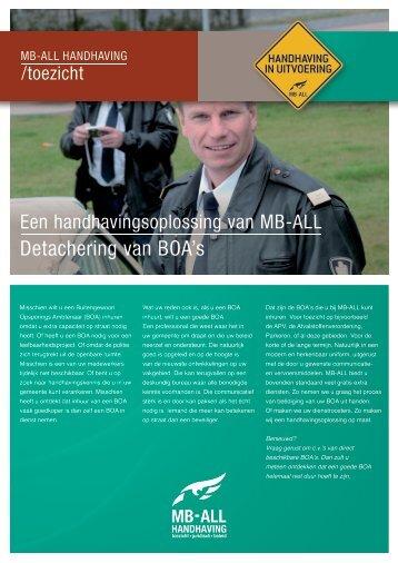 "Brochure ""detachering van BOA's"" - MB-ALL"