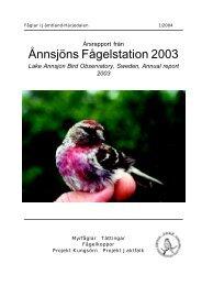 Årsrapport 2003 - Ånnsjöns fågelstation