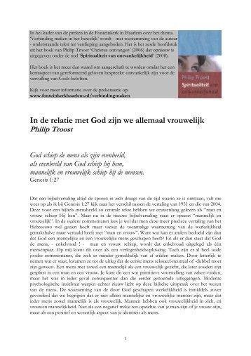In de relatie met God zijn we allemaal vrouwelijk - Fonteinkerk ...