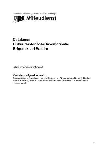 Catalogus cultuurhistorische inventarisatie gemeente Waalre
