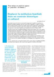 Replacer la médiation familiale dans un contexte historique et culturel