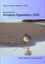 Årsrapport 2008 - Ånnsjöns fågelstation